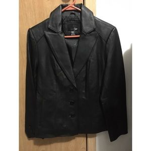East 5th black leather blazer